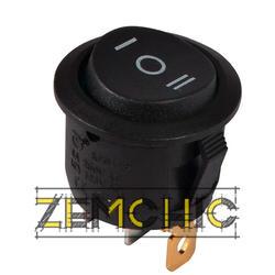 Переключатель KCD1-5-103 на 3 положения черный с круглой черной клавишей