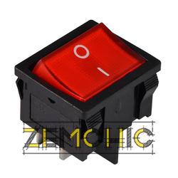 Переключатель KCD1-6-201N 2-полюсный черный с красной клавишей с подсветкой