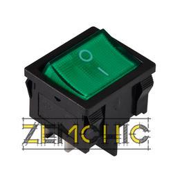 Переключатель KCD1-6-201N 2-полюсный черный с зеленой клавишей с подсветкой
