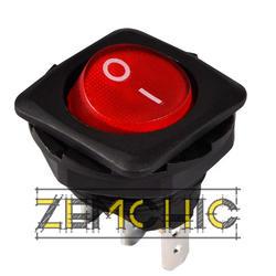 Переключатель KCD1-7-101N черный с круглой красной клавишей с подсветкой