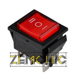 Переключатель KCD2-203N R/B 2-полюсный на 3 положения черный с красной клавишей с подсветкой