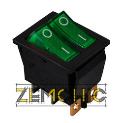 Переключатель KCD2-2101N черный с 2 зелеными клавишами с подсветкой