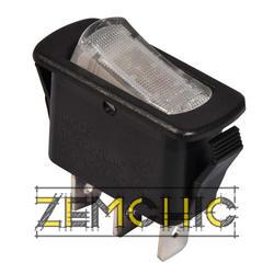 Переключатель KCD3-101N-12 WH/B черный с белой клавишей с подсветкой